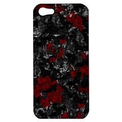 Gray And Red Decorative Art Apple Iphone 5 Hardshell Case by Valentinaart