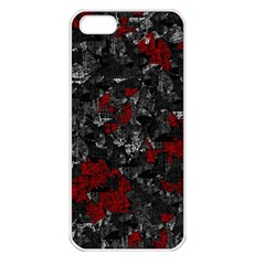 Gray And Red Decorative Art Apple Iphone 5 Seamless Case (white) by Valentinaart