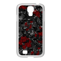 Gray And Red Decorative Art Samsung Galaxy S4 I9500/ I9505 Case (white) by Valentinaart