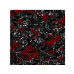 Gray And Red Decorative Art Small Satin Scarf (square)