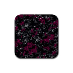 Magenta And Gray Decorative Art Rubber Square Coaster (4 Pack)  by Valentinaart