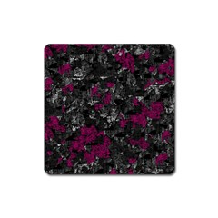 Magenta And Gray Decorative Art Square Magnet by Valentinaart