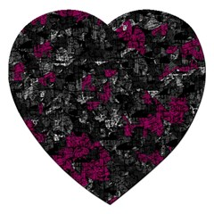 Magenta And Gray Decorative Art Jigsaw Puzzle (heart) by Valentinaart
