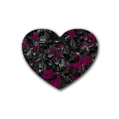 Magenta And Gray Decorative Art Rubber Coaster (heart)  by Valentinaart