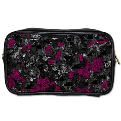 Magenta And Gray Decorative Art Toiletries Bags 2 Side