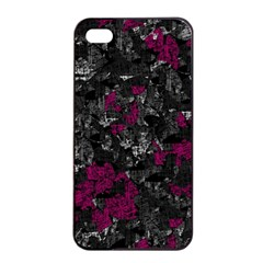 Magenta And Gray Decorative Art Apple Iphone 4/4s Seamless Case (black) by Valentinaart