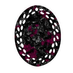 Magenta And Gray Decorative Art Ornament (oval Filigree)  by Valentinaart