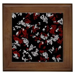 Red, White And Black Abstract Art Framed Tiles by Valentinaart