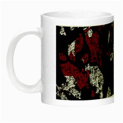 Red, White And Black Abstract Art Night Luminous Mugs by Valentinaart