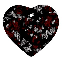Red, White And Black Abstract Art Heart Ornament (2 Sides) by Valentinaart
