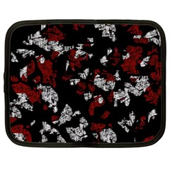 Red, White And Black Abstract Art Netbook Case (xxl)  by Valentinaart