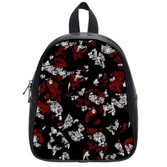 Red, White And Black Abstract Art School Bags (small)  by Valentinaart