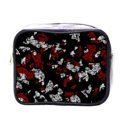 Red, White And Black Abstract Art Mini Toiletries Bags by Valentinaart