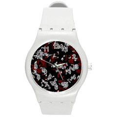 Red, White And Black Abstract Art Round Plastic Sport Watch (m) by Valentinaart