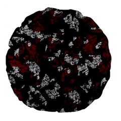 Red, White And Black Abstract Art Large 18  Premium Flano Round Cushions by Valentinaart