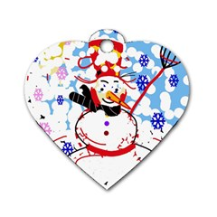 Snowman Dog Tag Heart (one Side) by Valentinaart