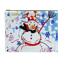 Snowman Cosmetic Bag (xl) by Valentinaart