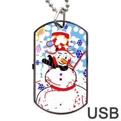 Snowman Dog Tag Usb Flash (two Sides)  by Valentinaart