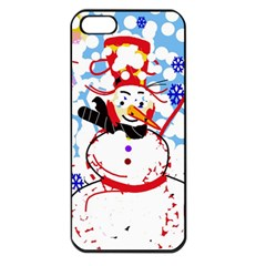 Snowman Apple Iphone 5 Seamless Case (black) by Valentinaart