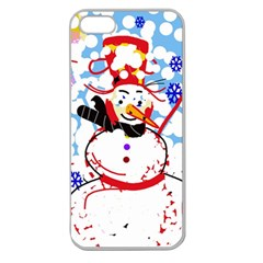 Snowman Apple Seamless Iphone 5 Case (clear) by Valentinaart
