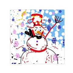 Snowman Small Satin Scarf (square) by Valentinaart