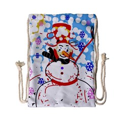 Snowman Drawstring Bag (small) by Valentinaart