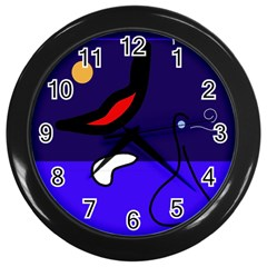Night Duck Wall Clocks (black) by Valentinaart