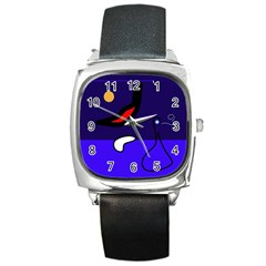 Night Duck Square Metal Watch by Valentinaart