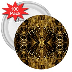 Beautiful Gold Brown Traditional Pattern 3  Buttons (100 Pack)  by Costasonlineshop