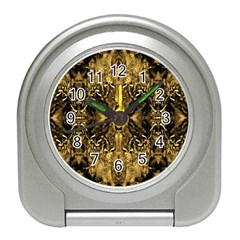 Beautiful Gold Brown Traditional Pattern Travel Alarm Clocks