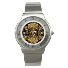Beautiful Gold Brown Traditional Pattern Stainless Steel Watch by Costasonlineshop