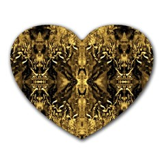 Beautiful Gold Brown Traditional Pattern Heart Mousepads by Costasonlineshop