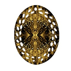 Beautiful Gold Brown Traditional Pattern Oval Filigree Ornament (2 Side)  by Costasonlineshop