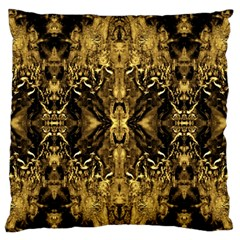 Beautiful Gold Brown Traditional Pattern Large Flano Cushion Case (two Sides) by Costasonlineshop