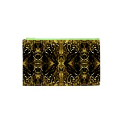 Beautiful Gold Brown Traditional Pattern Cosmetic Bag (xs) by Costasonlineshop