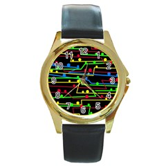 Stay In Line Round Gold Metal Watch by Valentinaart