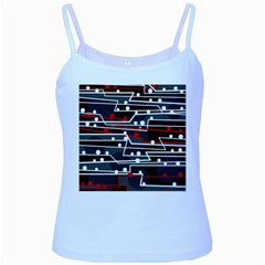 Stay In Line Baby Blue Spaghetti Tank by Valentinaart