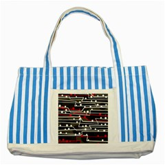 Stay In Line Striped Blue Tote Bag by Valentinaart
