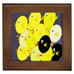 Yellow Flock Framed Tiles by Valentinaart