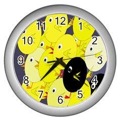 Yellow Flock Wall Clocks (silver)  by Valentinaart