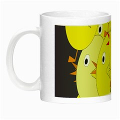 Yellow Flock Night Luminous Mugs by Valentinaart