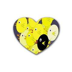 Yellow Flock Heart Coaster (4 Pack)  by Valentinaart