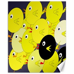 Yellow Flock Canvas 11  X 14   by Valentinaart