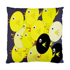 Yellow Flock Standard Cushion Case (one Side) by Valentinaart