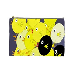 Yellow Flock Cosmetic Bag (large)  by Valentinaart