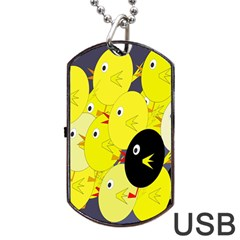 Yellow Flock Dog Tag Usb Flash (two Sides)  by Valentinaart