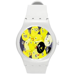 Yellow Flock Round Plastic Sport Watch (m) by Valentinaart