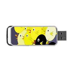 Yellow Flock Portable Usb Flash (two Sides) by Valentinaart
