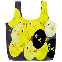 Yellow Flock Full Print Recycle Bags (l)  by Valentinaart