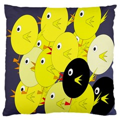 Yellow Flock Large Flano Cushion Case (one Side) by Valentinaart